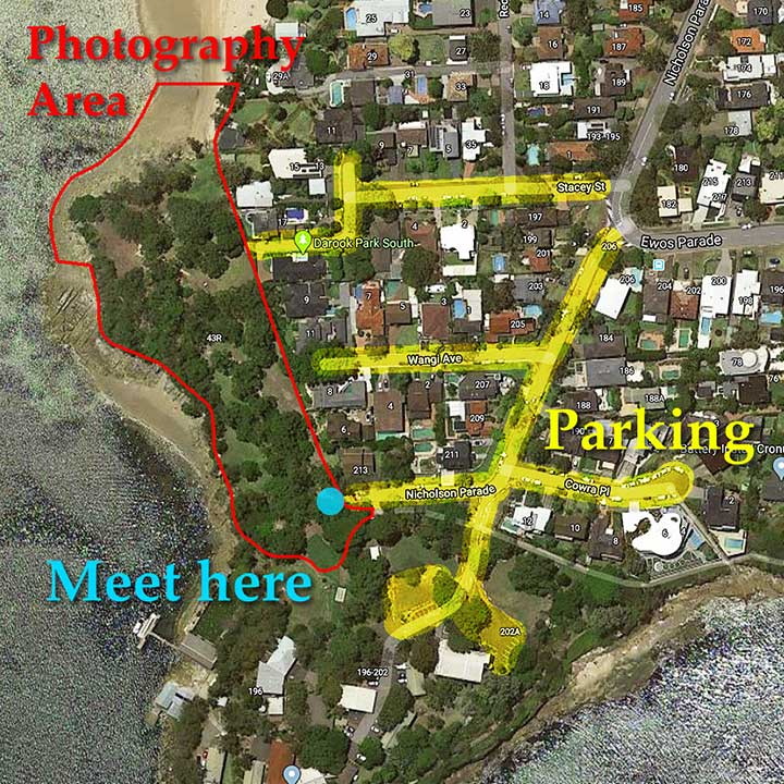 Sutherland Shire Family Photography & Wedding Portrait Location - Dark Park South Map